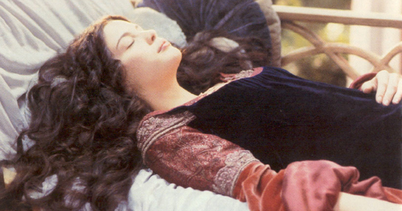 As Aragorn battles orcs, Arwen takes a nap.