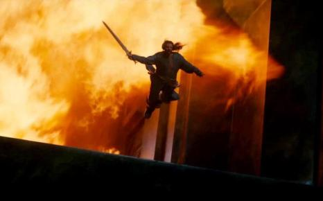 Thorin jumps away from the fire, but it's not in slow motion, so I count that as self-restrain on Jackson's part.