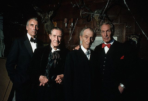 London-Cannon Films Christopher Lee, John Carradine, Peter Cushing, and Vincent Price