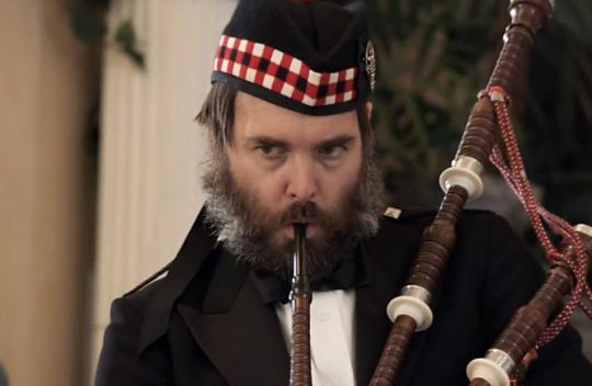 Universal Picture Will Forte is the bagpipe man.